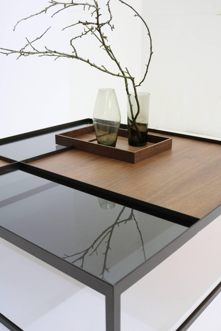 Coffee Table Q4 Bronze Walnut Glass Contemporary Handcrafted Customizable For Sale At 1stdibs