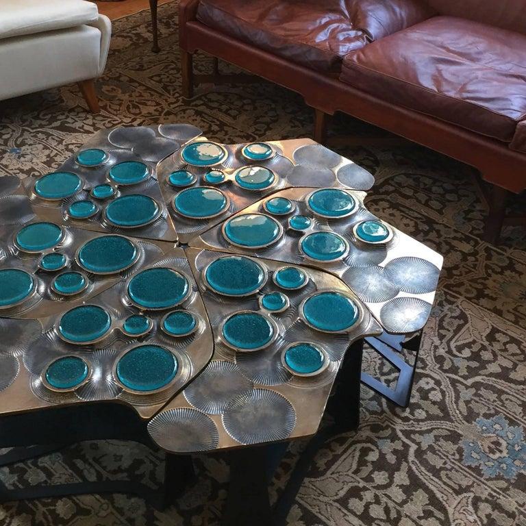 Tiberinus Coffee Table Cast Bronze Cast Glass Insert Steel
