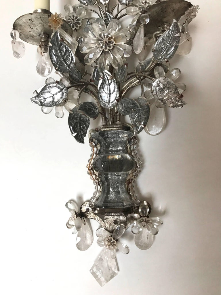 Maison Baguès Style Two-Arm Rock Crystal and Silvered Metal Sconces 3