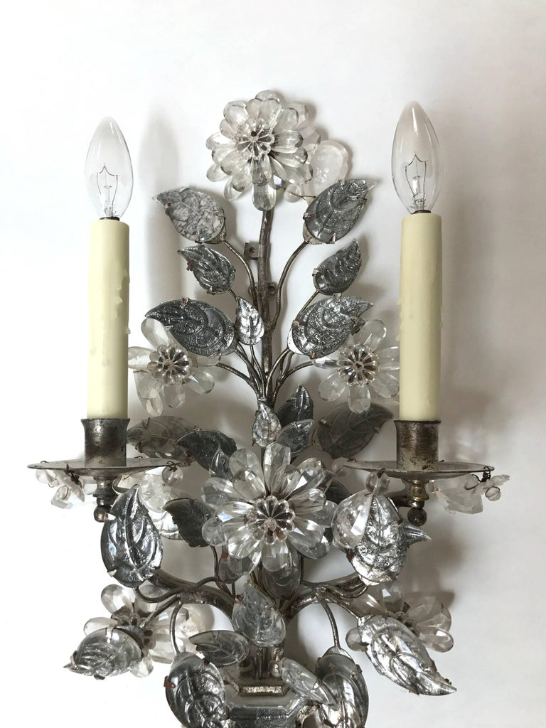 Maison Baguès Style Two-Arm Rock Crystal and Silvered Metal Sconces 2
