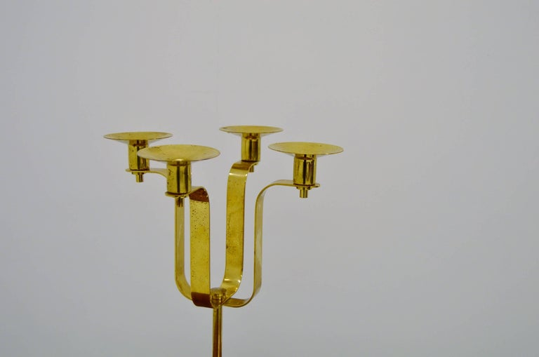 20th Century Hans-Agne Jakobsson Brass Candelabra For Sale