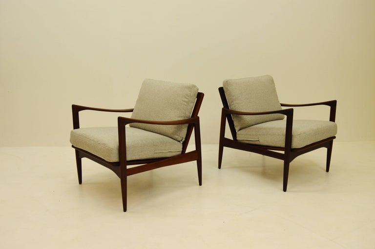 20th Century Pair Kandiaten Easy Chairs by Ib Kofod Larsen For Sale