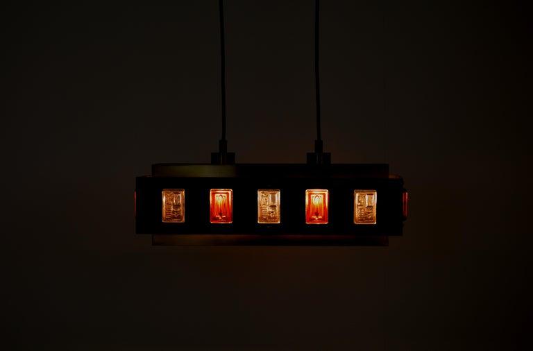 Scandinavian Modern Brass and Glass Ceiling Lamp by Einar Bäckström and Erik Höglund For Sale