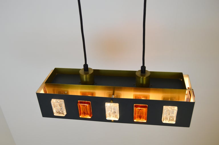 Metal Brass and Glass Ceiling Lamp by Einar Bäckström and Erik Höglund For Sale