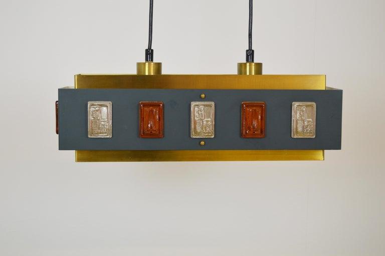 Brass and Glass Ceiling Lamp by Einar Bäckström and Erik Höglund For Sale 1