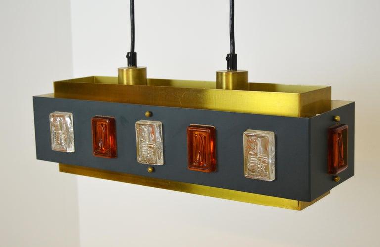 Brass and Glass Ceiling Lamp by Einar Bäckström and Erik Höglund For Sale 3
