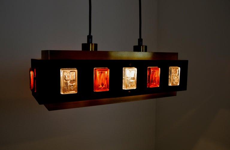 Swedish Brass and Glass Ceiling Lamp by Einar Bäckström and Erik Höglund For Sale