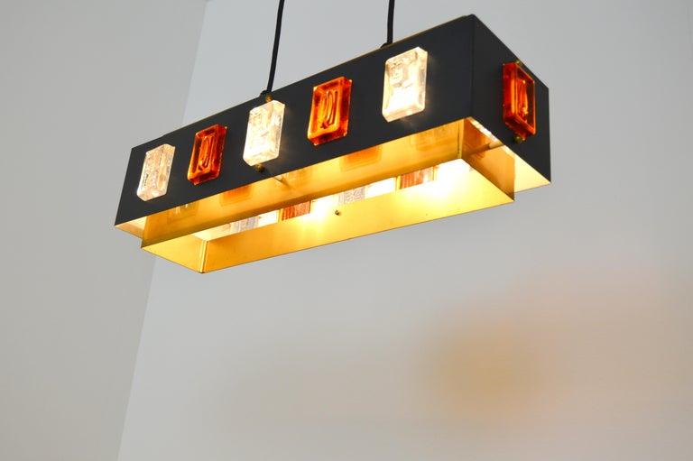 20th Century Brass and Glass Ceiling Lamp by Einar Bäckström and Erik Höglund For Sale