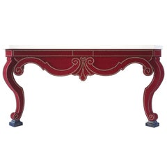 Augustus Console Table in Red Velvet and Limestone Top