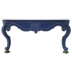 Augustus Velvet Console Table in Blue with Limestone Top