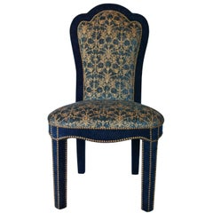 Titus Dining Chair in Brass Studded Velvet