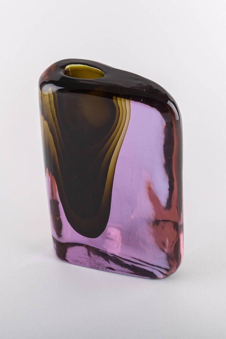 Italian Cenedese Murano blown by Tosi designed Antonio da Ros sculpture vase  For Sale