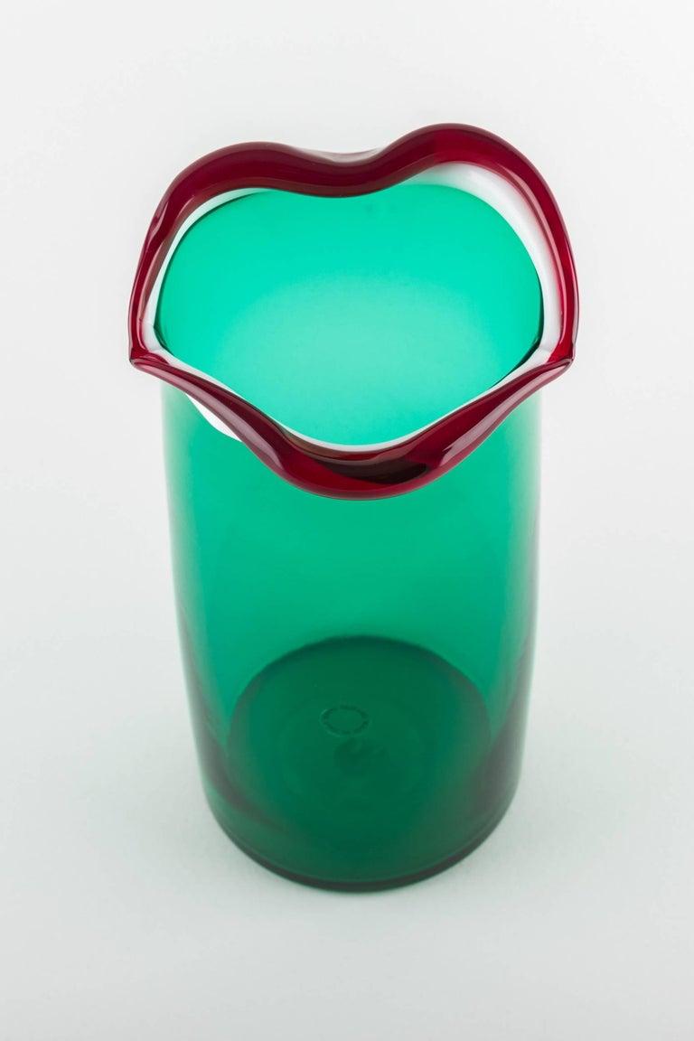 Italian Venini Murano Fulvio Bianconi sorriso (Smile) mouth blown Vase, green color For Sale