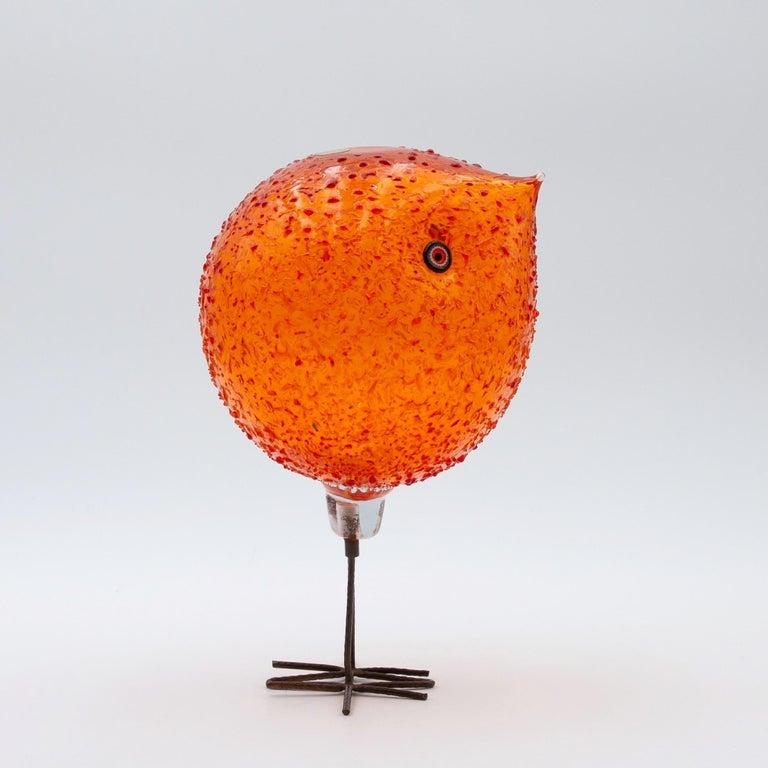 20th Century Iconic Space Age Vistosi Murano Orange Pulcino Glass Bird by Alessandro Pianon For Sale