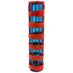 Venini Murano Fulvio Bianconi Mundgeblasene Glasvase, Rot und Blau