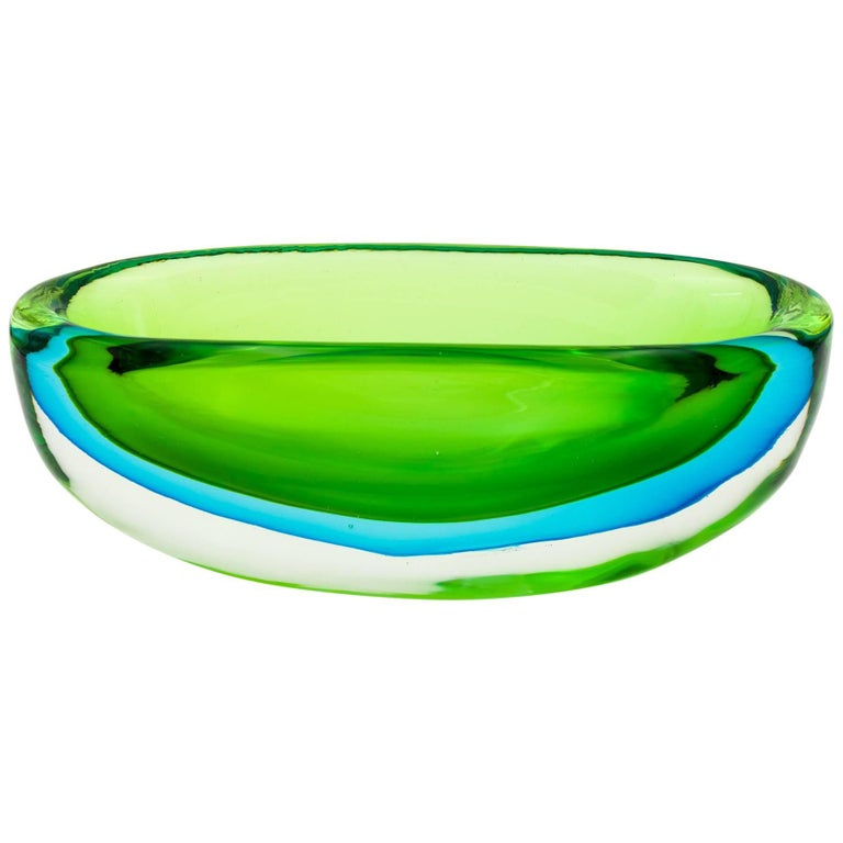 Vintage Flavio Poli for Seguso Vetri d'Arte Large Green and Blue Glass Dish For Sale