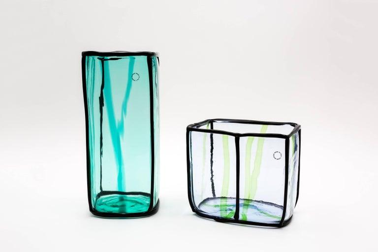 Mid-Century Modern Fulvio Bianconi for Venini Murano Epipedos Vase Green Blue For Sale