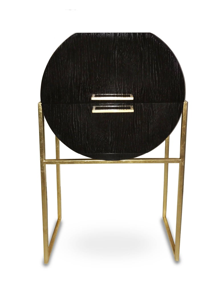 Unique design of a practical bar and beverage storage.   Dark chocolate vintage finish with gloss polish. Frame steel, 18-karat gold hand plated using flake method.  Ideal to store wine.