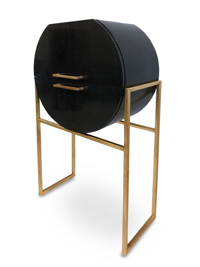 Other Modern Hand-Crafted Miami Bar or Storage Cabinet in Oak and Gold Plated Base  For Sale