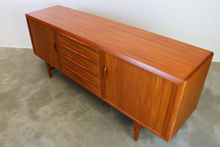 Rare Danish Sideboard / Credenza by Ib Kofod Larsen for Faarup Teak 1950s Brown For Sale 5