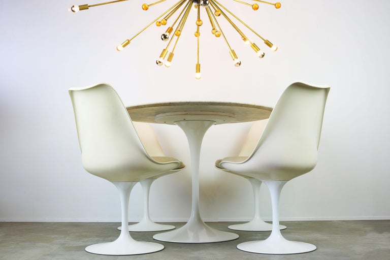 Original 1960s Knoll Tulip Dining Set Marble Eero Saarinen Knoll International For Sale 7