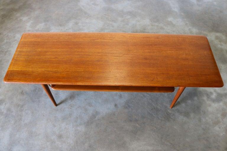 Brass Peter Hvidt & Orla Mølgaard Nielsen Coffee Table FD 516 Teak France & Son 1956 For Sale