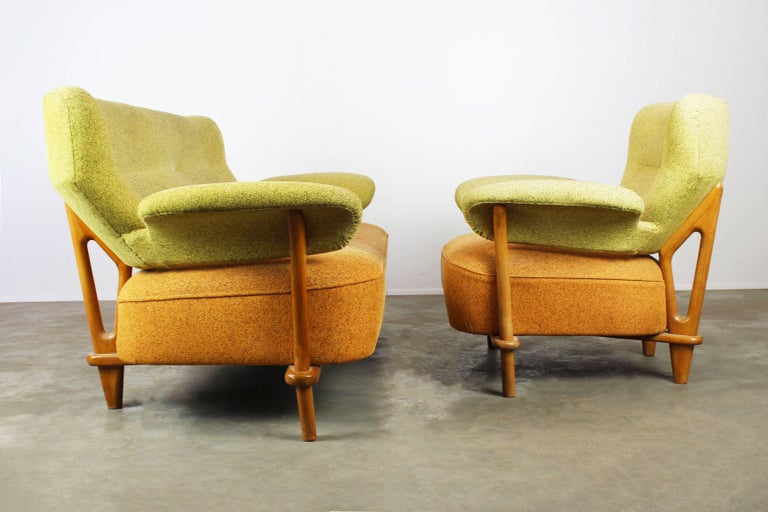 Mid-Century Modern Rare Living Room Set / Sofa and Lounge Chair F109, Theo Ruth for Artifort, 1950 For Sale