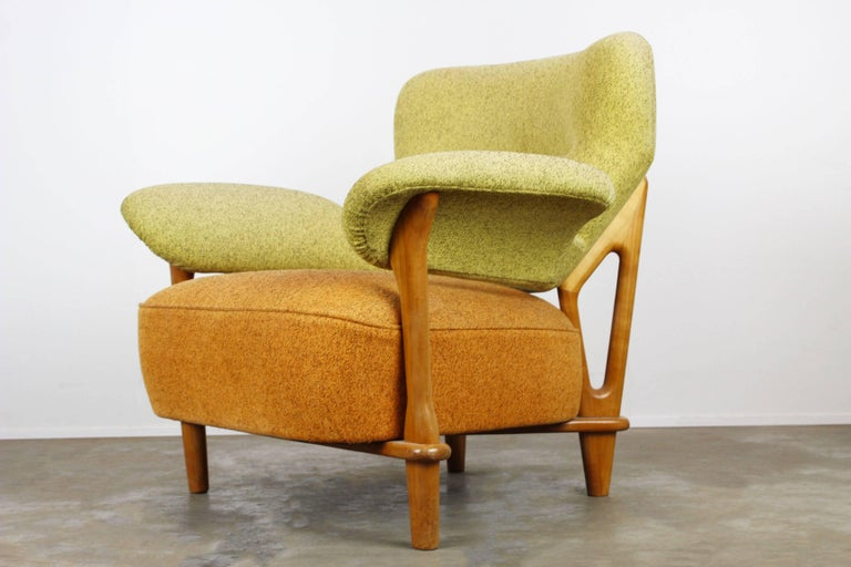 Rare Living Room Set / Sofa and Lounge Chair F109, Theo Ruth for Artifort, 1950 In Good Condition For Sale In Ijzendijke, NL