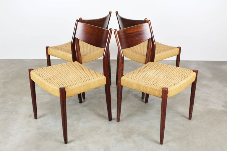 rattan bedroom furniture set of four dining chairs in rosewood and papercord 13036