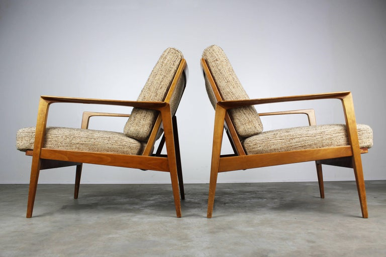 Mid-Century Modern Full Original Knoll Antimott Set 1950 with Easy Chairs and Daybed Beige Brown For Sale