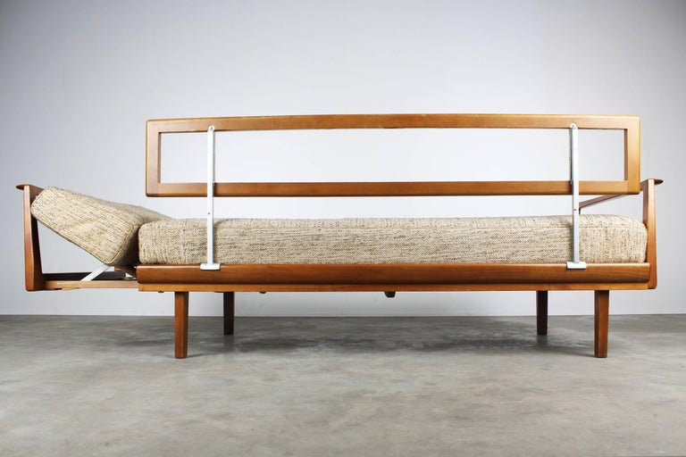 Wool Full Original Knoll Antimott Set 1950 with Easy Chairs and Daybed Beige Brown For Sale