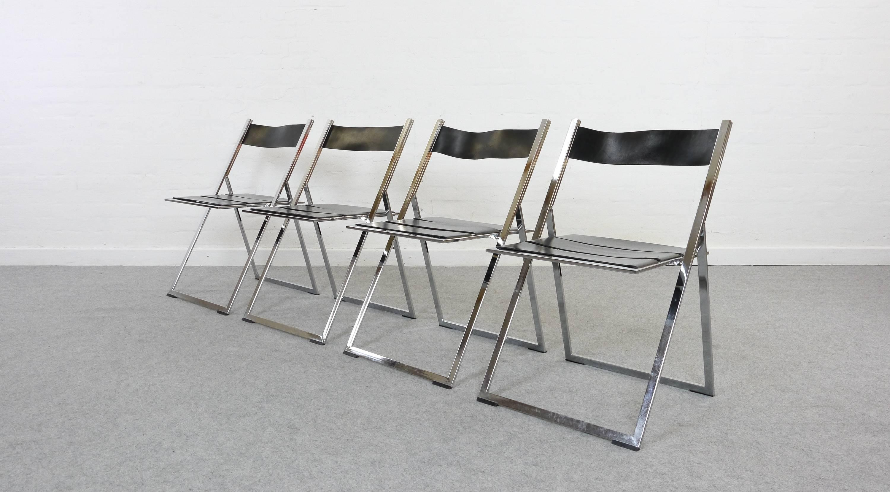 Set Of Four Chromed Steel And Black Leather Dining Chairs/folding Chairs.  Probably The