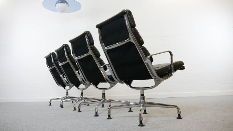 American Charles Eames Soft Pad Chairs EA 216 Herman Miller / Fehlbaum in Black Leather For Sale