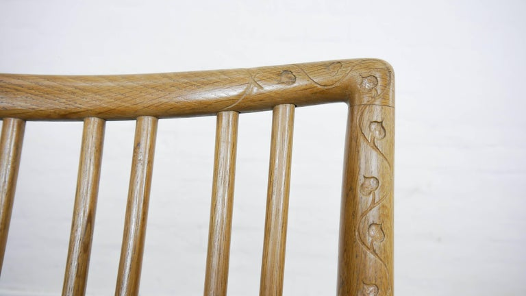 Rocking Chair ML-33 Hans J. Wegner/Mikael Laursen, 1940, First Edition in Oak  For Sale 2