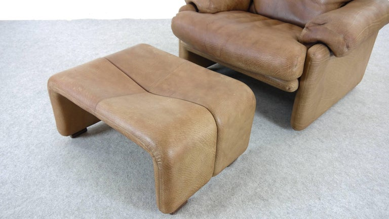 Coronado Chair with Footrest in Brown Leather, Tobia Scarpa for B&B Italia, 1966 For Sale 4