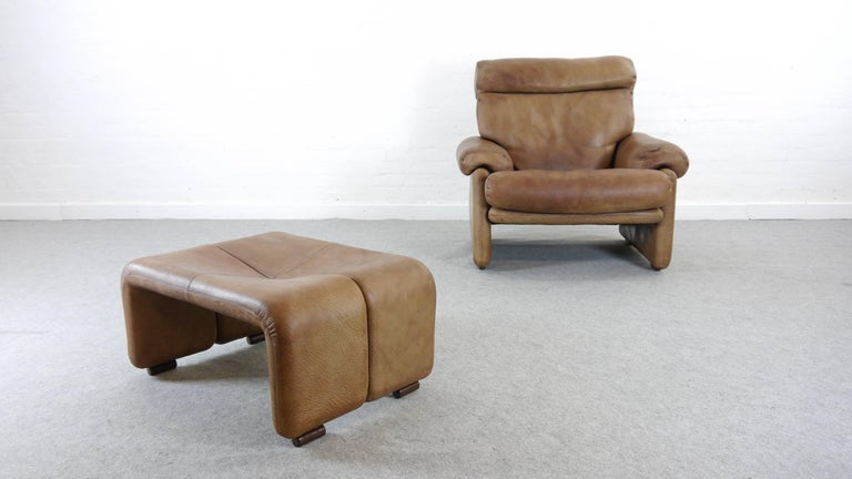 Mid-Century Modern Coronado Chair with Footrest in Brown Leather, Tobia Scarpa for B&B Italia, 1966 For Sale