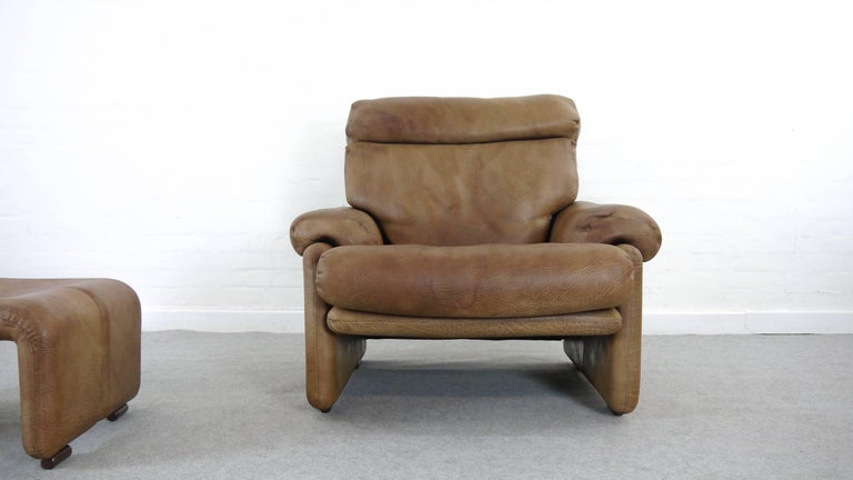 Coronado Chair with Footrest in Brown Leather, Tobia Scarpa for B&B Italia, 1966 For Sale 5
