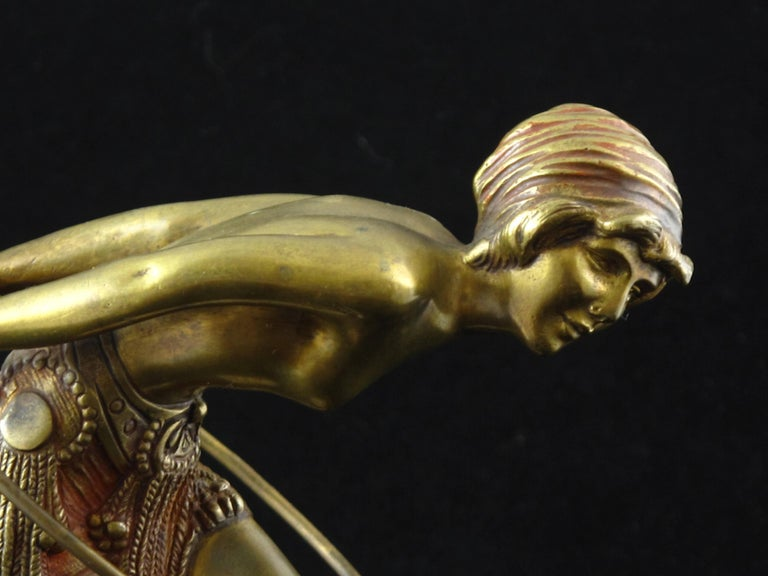 Early 20th Century Art Deco Bronze Figure of a Hoop Dancer by Demetre Chiparus For Sale