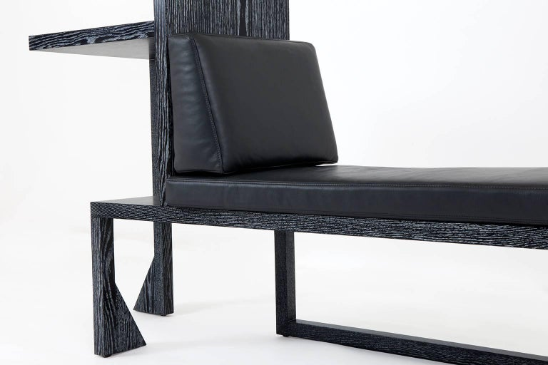 Contemporary Bench / Chaise / Console in Cerused Oak Veneer by Alex P White For Sale 4