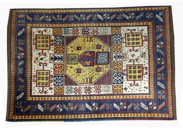 Handmade Vintage Caucasian Kazak Karachov Rug 1940s For