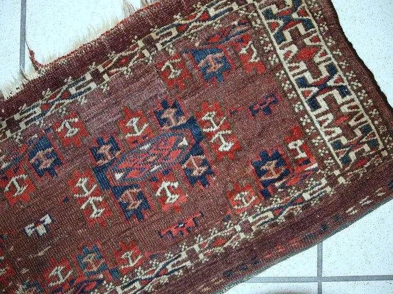 Handmade Antique Collectible Turkmen Yomud Torba 1880s