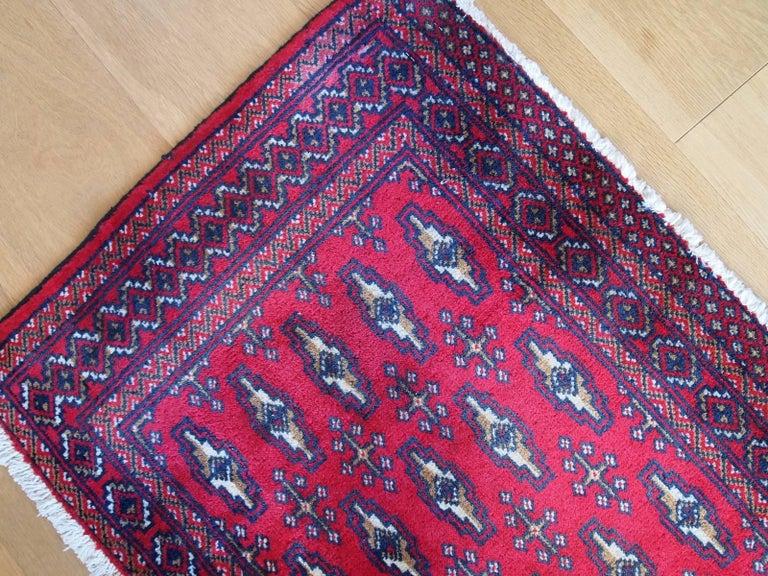 Handmade Vintage Turkmen Tekke Oriental Rug 1970s For