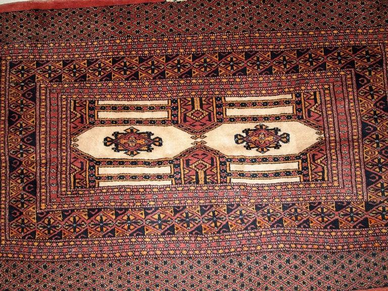 Handmade Vintage Turkmen Oriental Rug 1950s For Sale At