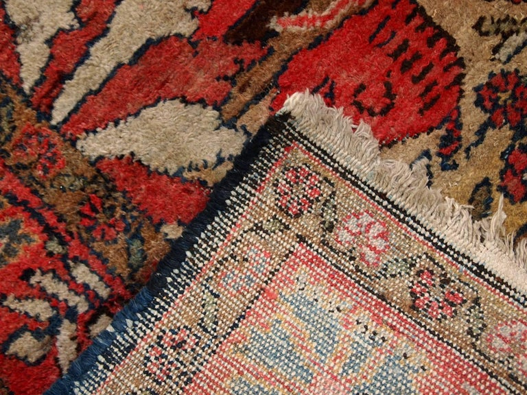 Handmade Antique Persian Malayer Oriental Rug 1920s For