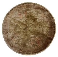 Handmade Vintage Silk Art Deco Style Chinese Round Rug, 1980s, 1C301