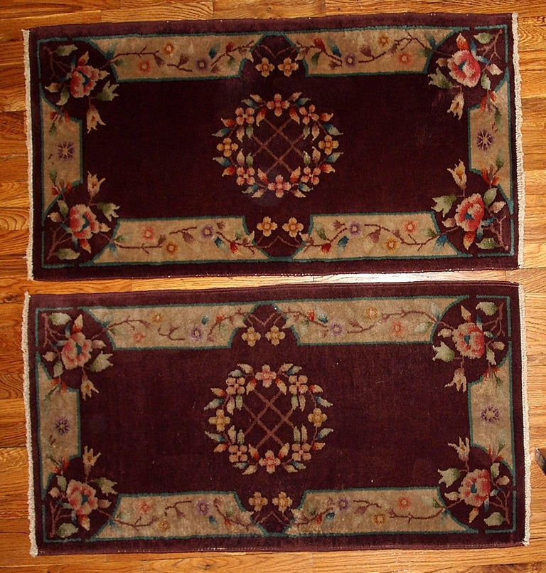 Handmade Antique Art Deco Chinese Pair Of Rugs 1920s For Sale At