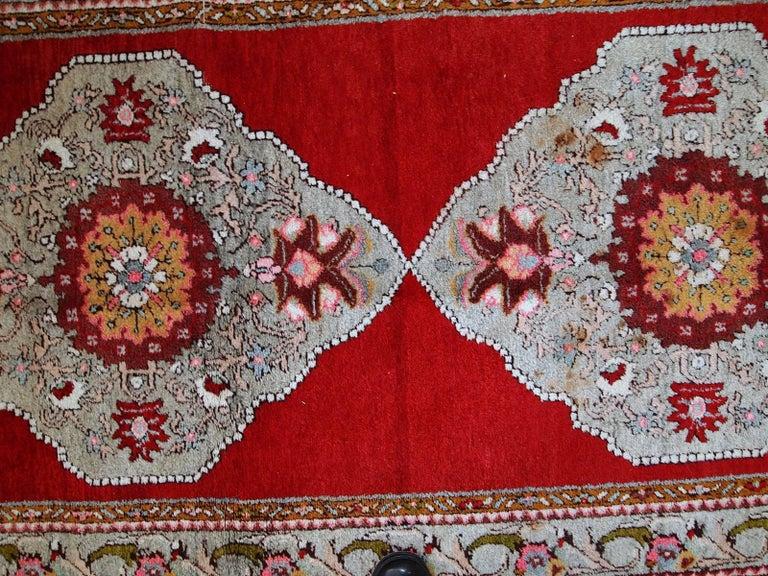 Wool Handmade Vintage Turkish Oushak Runner, 1940s, 1C515 For Sale
