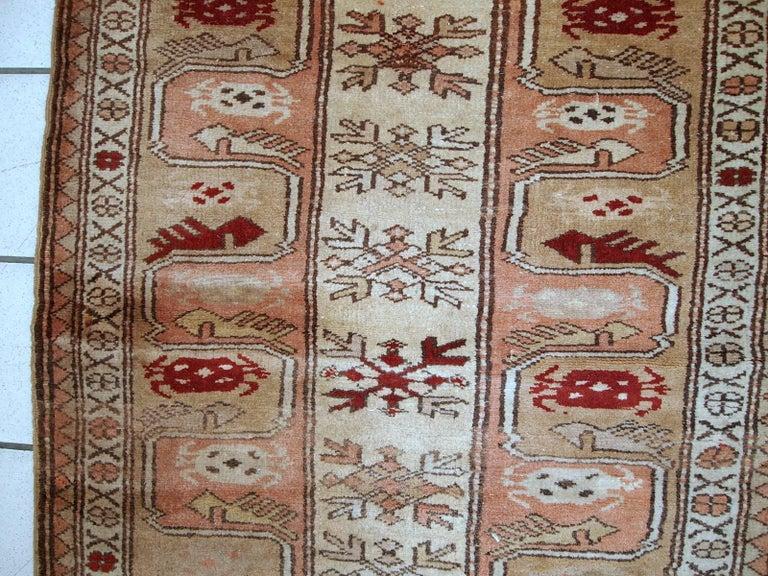 Wool Handmade Vintage Turkish Oushak Runner, 1940s, 1C520 For Sale