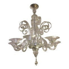 A.V. Mazzega, Venetian Eight-Arm Glass Chandelier