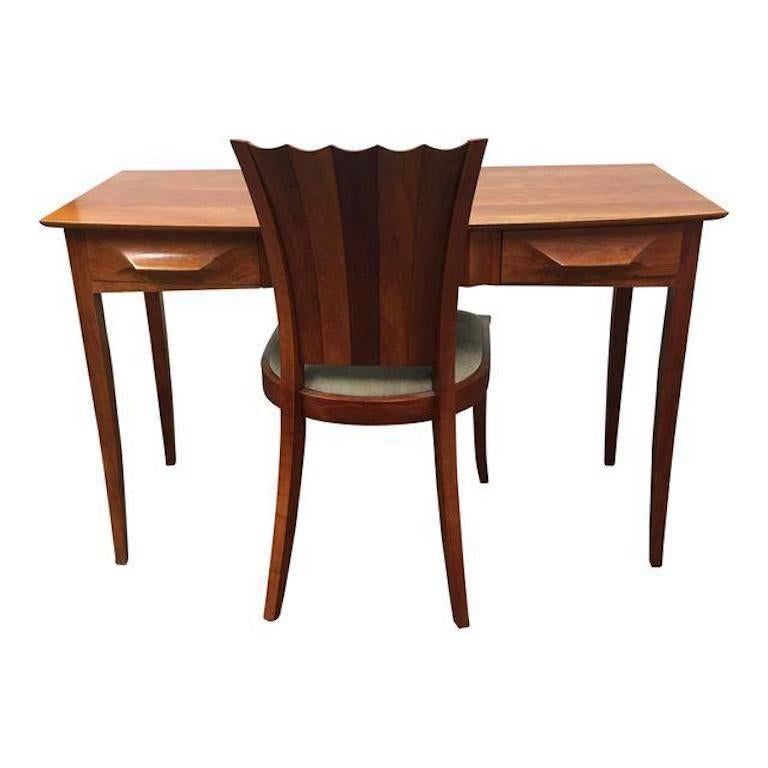 Thos Moser Aria Writing Desk And Aria Side Chair For Sale